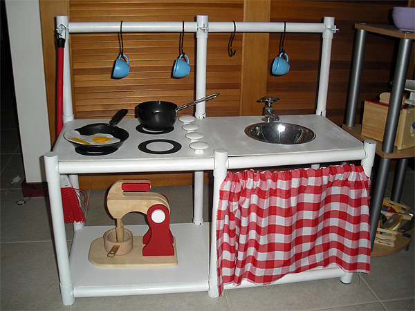 Play kitchen made from shelving parts
