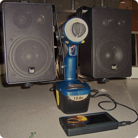 "Drill-powered ""fort"" speakers"