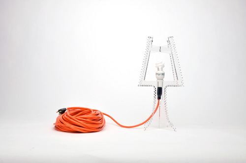 Coiled extension cord lamp
