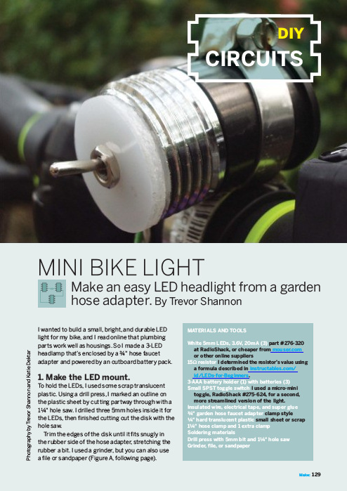 Weekend Project: Mini Bike Light (PDF) | Make: