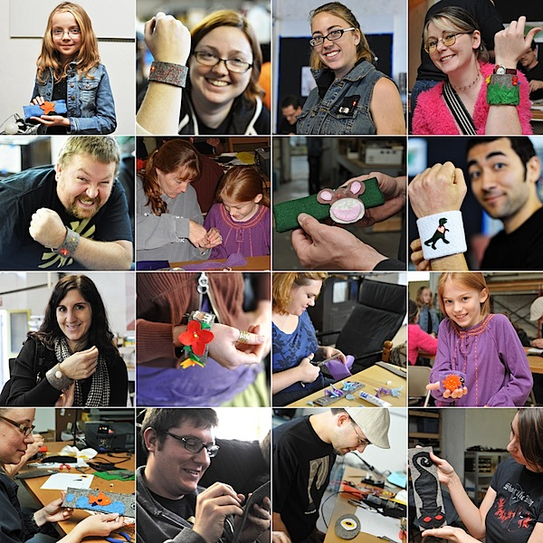 Pictures from Hack PGH's Soft Circuit Workshop