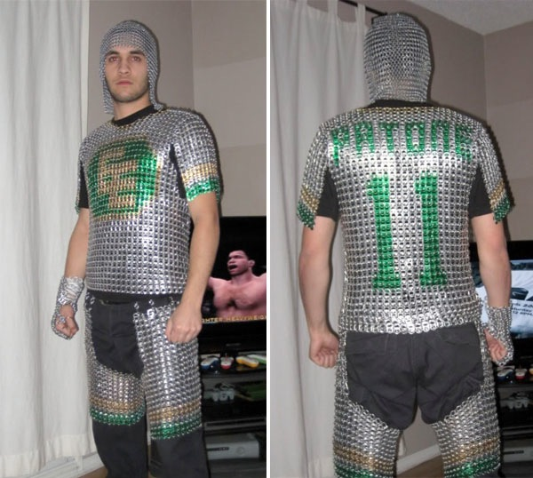 Chainmail armor entirely from beer can tabs!