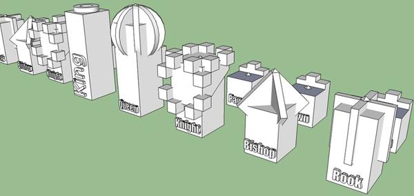 Printable chess set