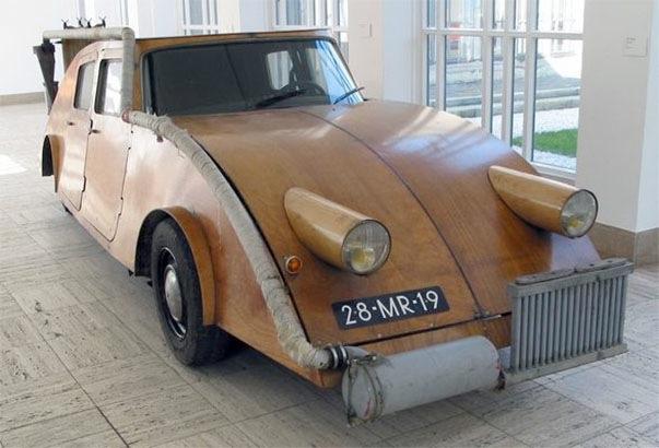 Wooden car burns wooden fuel, travels Europe