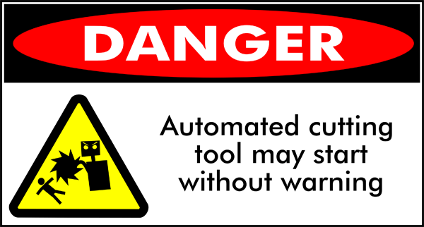 Amusing warning sign for CNC tools