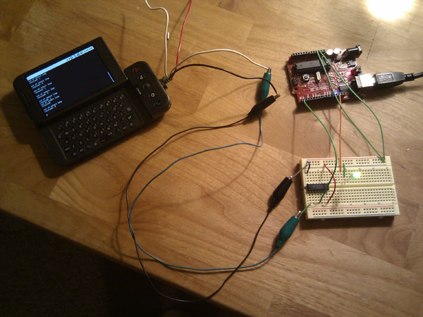 Android G1 serial to Arduino Instructable