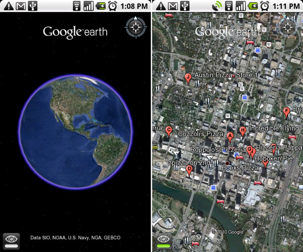Google Earth for Android devices