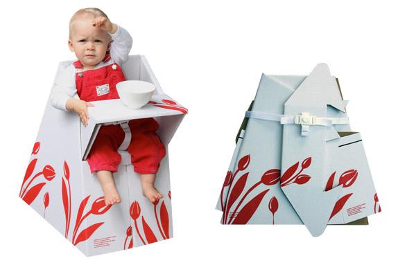 Flatpack cardboard high chair
