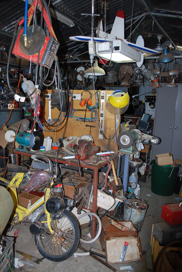 Ian Ross's workbench and shed