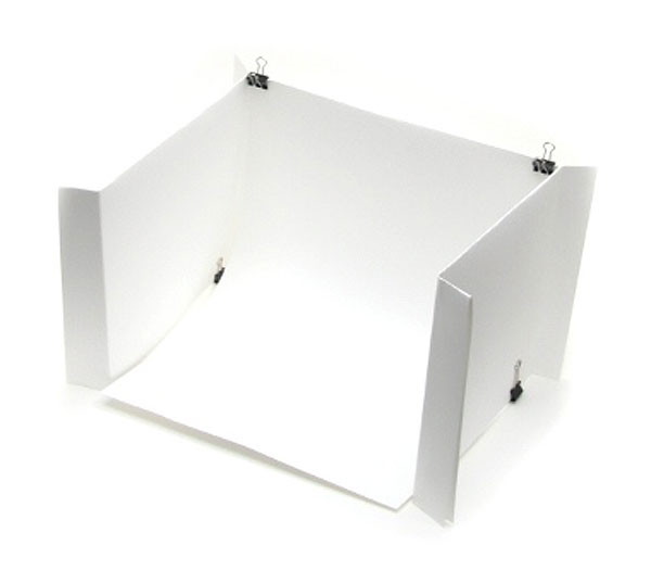 DIY light tent using plain paper and binder clips