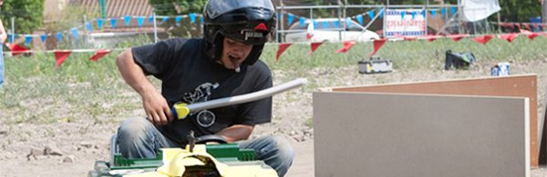 Power Wheels racing competition at Maker Faire Detroit