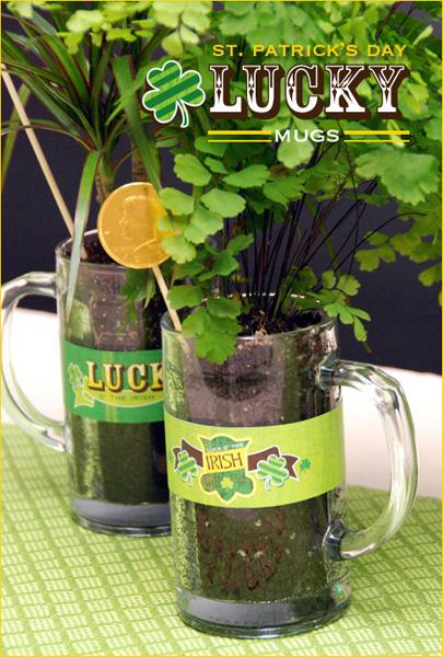 St. Patrick's Day Lucky Mugs Centerpiece