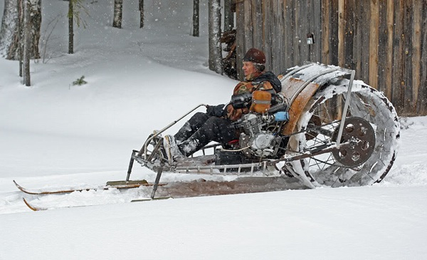 Homemade snowmobile