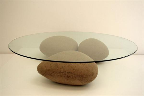 Never mind the table, check out the fake cardboard boulders