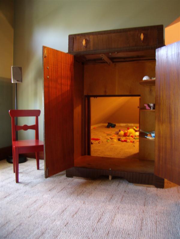 Secret Playroom Access Through Armoire