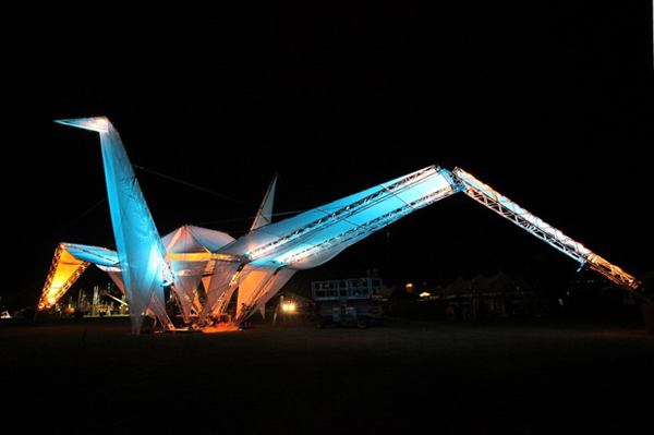 Giant 'origami' crane slash tent