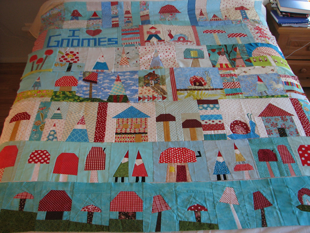 """Gnome Quilt (in Progress) From """"Virtual"""" Quilt Bee"""