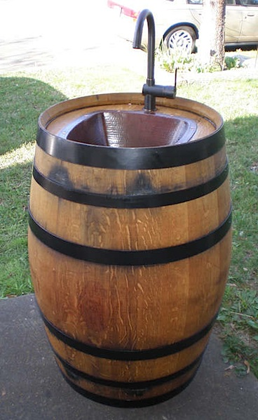 How-To: Wine barrel converted to outdoor sink