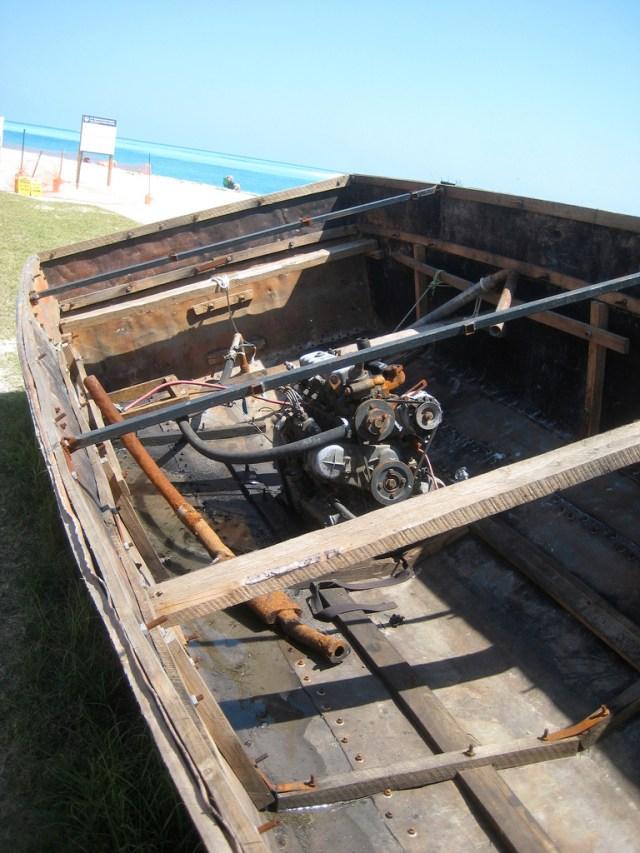 Hand-built Cuban refugee boat