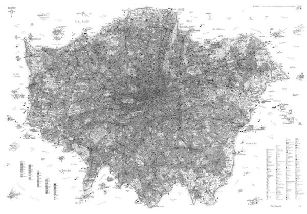 Incredible hand-drawn map of London