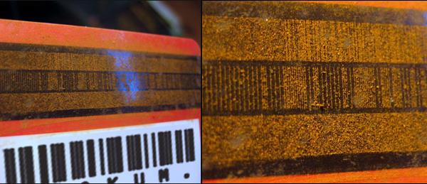 Powdered rust reveals magstripe data