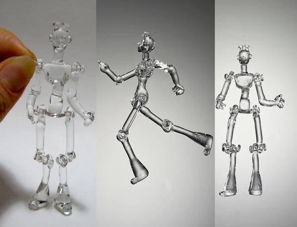 Jointed borosilicate glass robot figurine