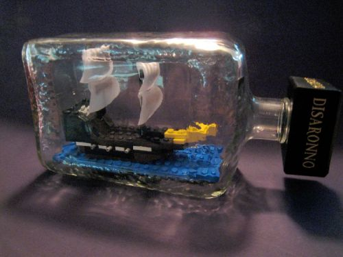 Lego ship in a glass bottle