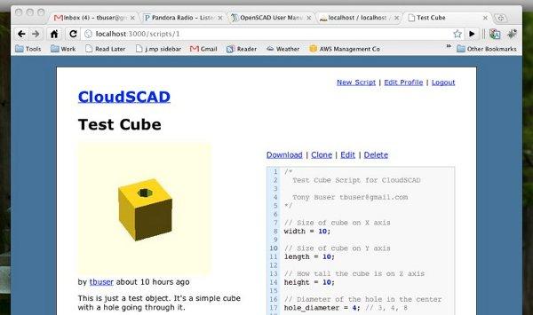 CloudSCAD: Design your 3D parts on the web