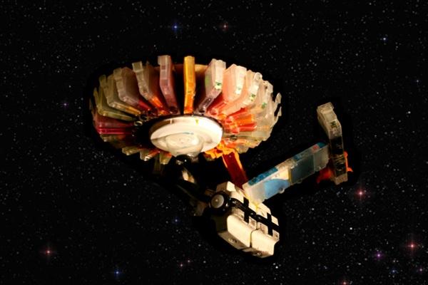 Starship Enterprise made from ink cartridges