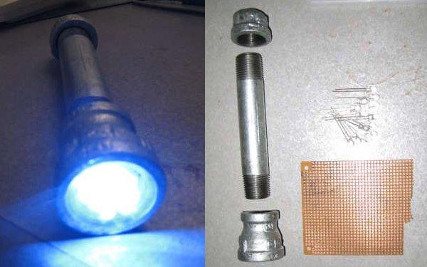 Flashlight from galvanized iron pipe