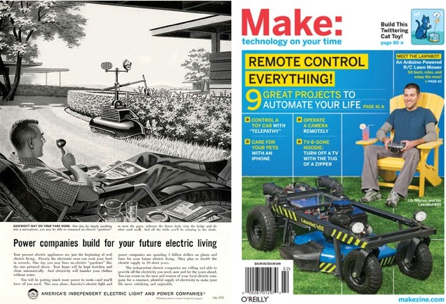 Remote controlled lawn mower: then and now