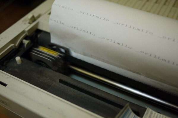 Sequencing a dot matrix printer