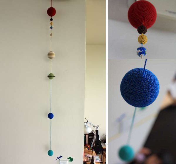 Beautiful solar system mobile from really cheap stuff