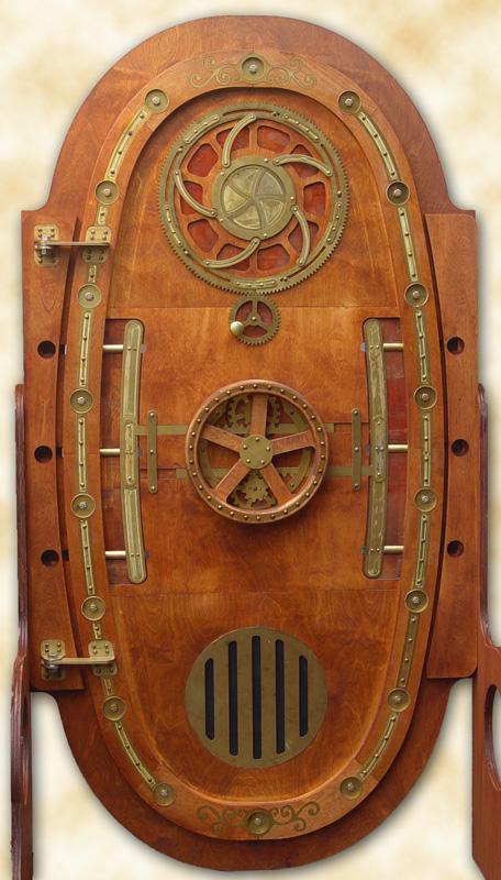 """Brass and wood """"pressure door"""" with iris, handwheel"""