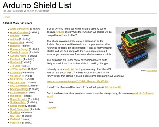 Arduino Shield List – Pin usage details for 46 shields, and counting!