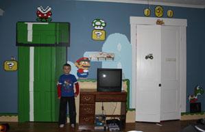 Super Mario retro room mural