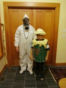 This [toxic waste costume](http://blog.makezine.com/2010/10/27/adorable-toxic-waste-costume/) obviously took some time, but you could probably whip up a quicker version in an evening.