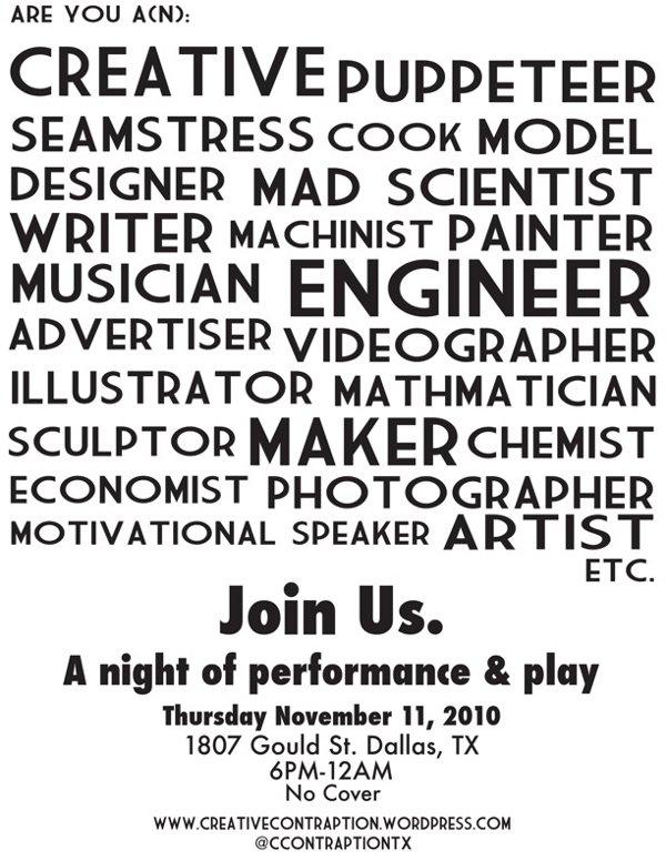 Attention Dallas makers: Creative Contraption's Interactive Extravaganza is tonight!