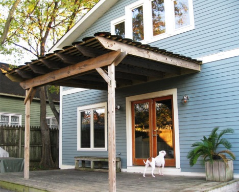 Porch roof made from repurposed vinyl records