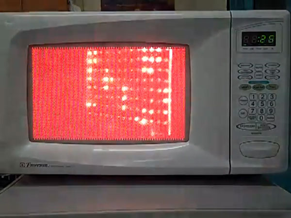 Visualizing microwaves inside a microwave oven