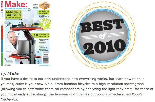 MAKE chosen as one of Paste's best mags for 2010!