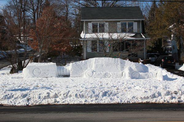 Fallen AT-AT snow fort