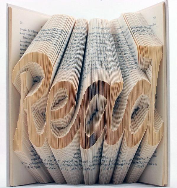 Clever book-folding sculpture trick