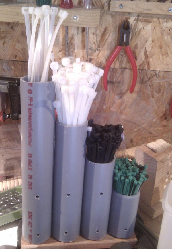 Clever Cable Tie Organizer Made from PVC Pipe
