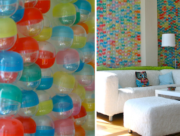 Decorate a Wall with Vending Machine Toy Capsules
