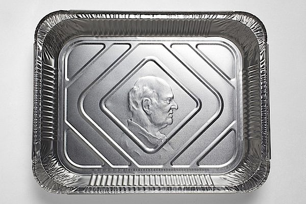 Painstakingly Embossed Portraits on Disposable Aluminum Pans
