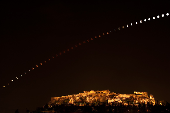 Time Lapse Lunar Eclipse over the Acropolis