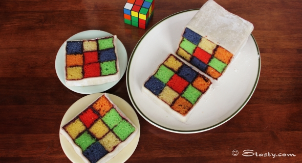 How-To: Rubik's Cube Battenburg Cake