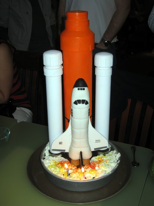 Space Shuttle Cake with Ice Cream Tank, Chocolate/Caramel Boosters