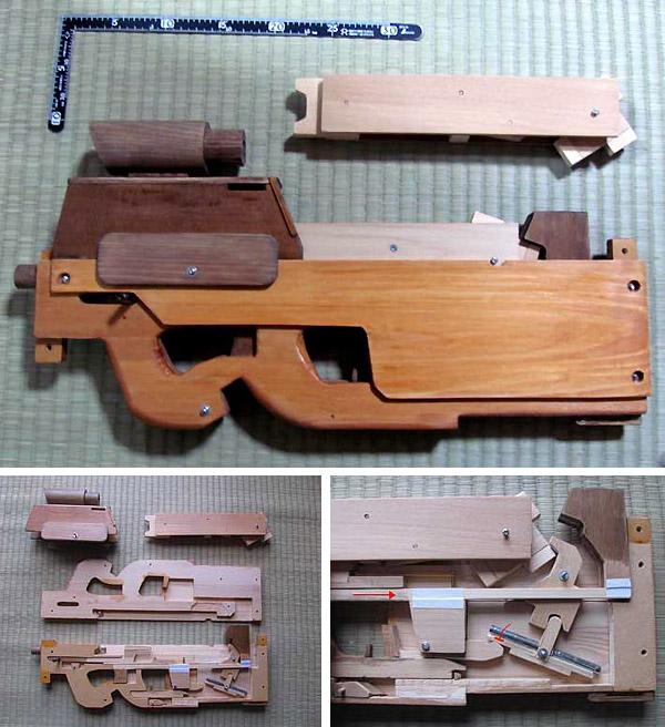 Wooden FN P90 Rubber Band Gun
